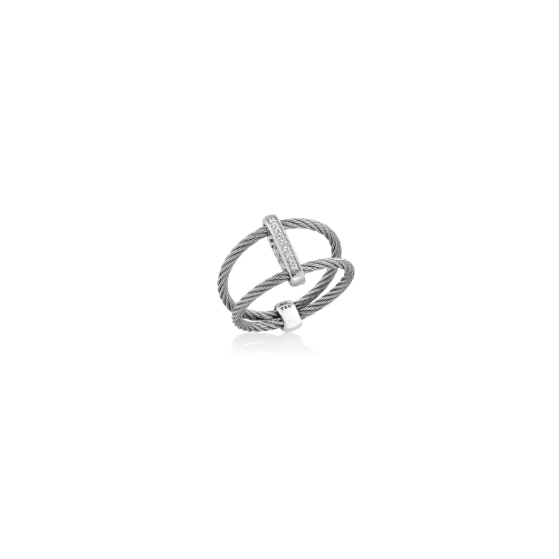 ALOR Grey Cable Bound Ring with 18kt White Gold & Diamonds