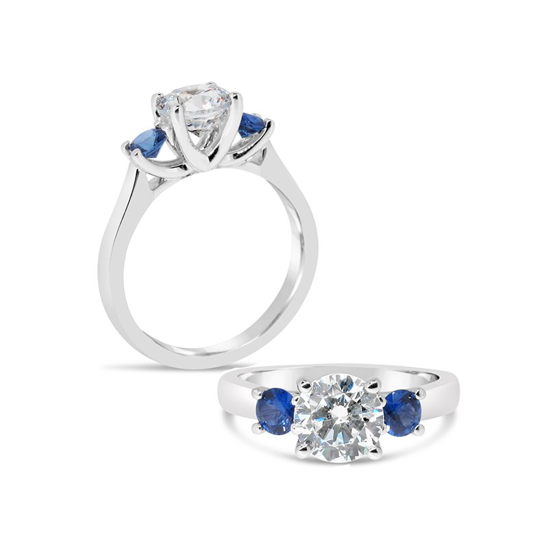 Aires Custom Bridal three-stone with sapphires