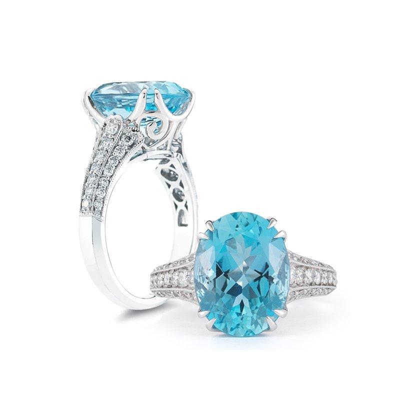 Aires Signature Collection Aquamarine and Diamond ring