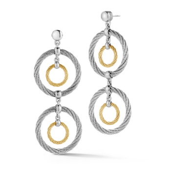 Yellow & Grey Cable Double Drop Earrings with 18kt White Gold
