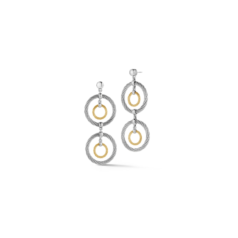 ALOR Yellow & Grey Cable Double Drop Earrings with 18kt White Gold