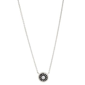 SIG SS/ BLK RHOD/ CZ NAUTICLE BUTTON NECKLACE 18""