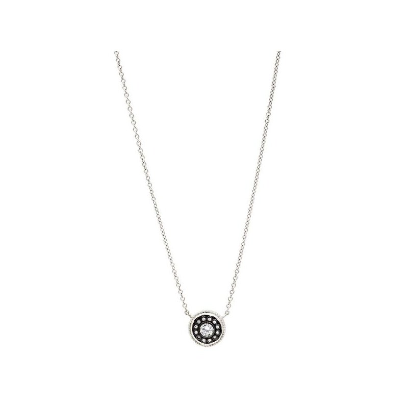 Freida Rothman SIG SS/ BLK RHOD/ CZ NAUTICLE BUTTON NECKLACE 18""