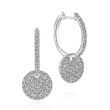 14KW 1.15CT DIA PAVE DISC EARRINGS