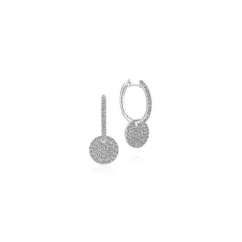 Gabriel Fashion 14KW 1.15CT DIA PAVE DISC EARRINGS