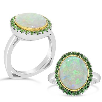 tsavorite garnet and opal ring