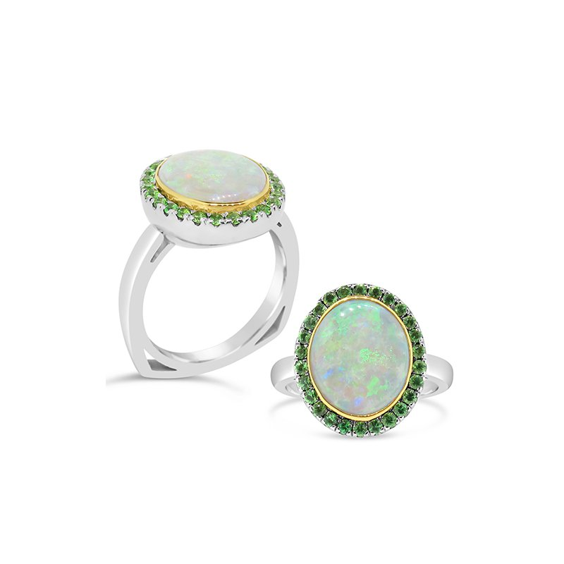 Aires Signature Collection tsavorite garnet and opal ring