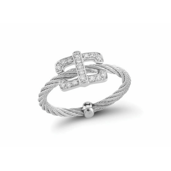 Stainless Steel and 18K white gold and diamond square top ring with .14ct of diamonds