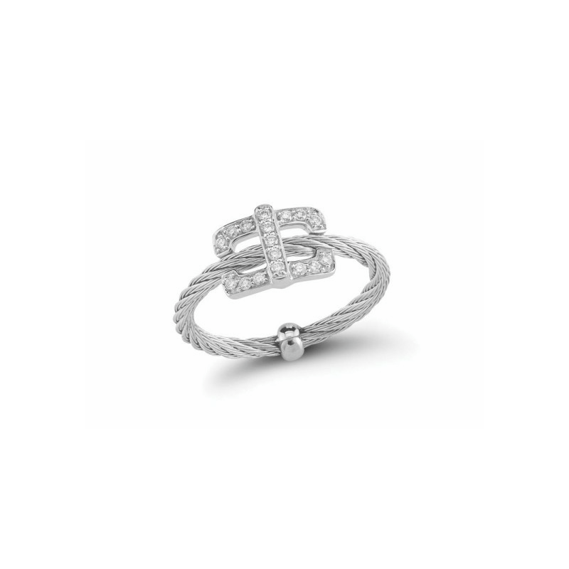 ALOR Stainless Steel and 18K white gold and diamond square top ring with .14ct of diamonds