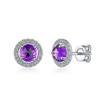 14KWG DIA .31CT & AMETHYST 1.65CT FASHION STUD EARRINGS