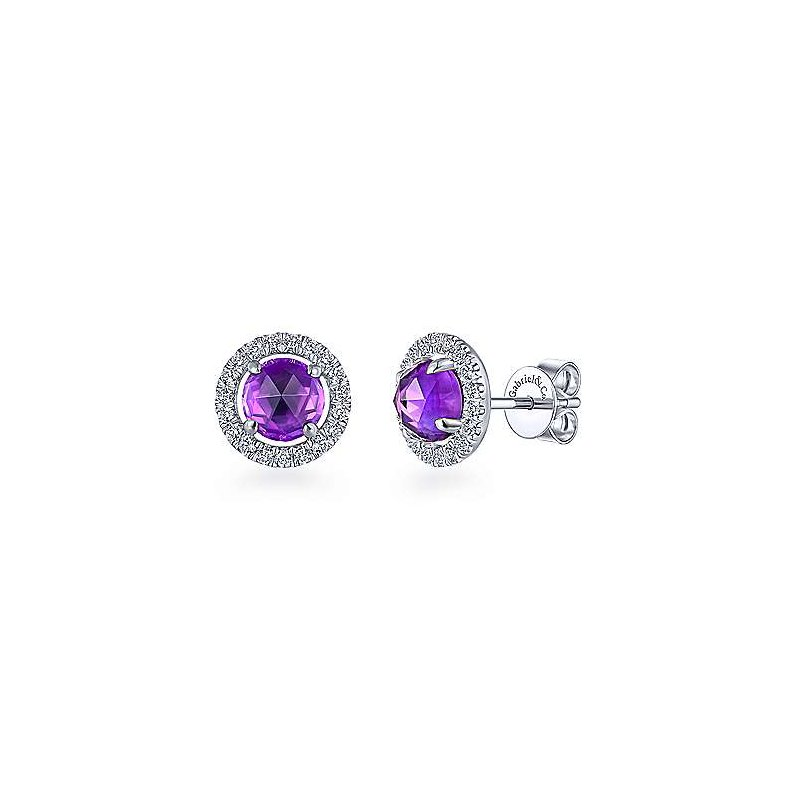 Gabriel Fashion 14KWG DIA .31CT & AMETHYST 1.65CT FASHION STUD EARRINGS