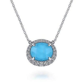 14KWG DIA .27CT & FASHION ROCK CRYSTAL & OVAL TURQUOISE 3.21 NECKLACE