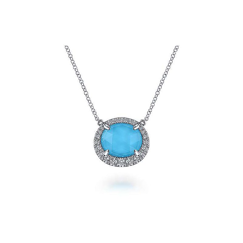 Gabriel Fashion 14KWG DIA .27CT & FASHION ROCK CRYSTAL & OVAL TURQUOISE 3.21 NECKLACE