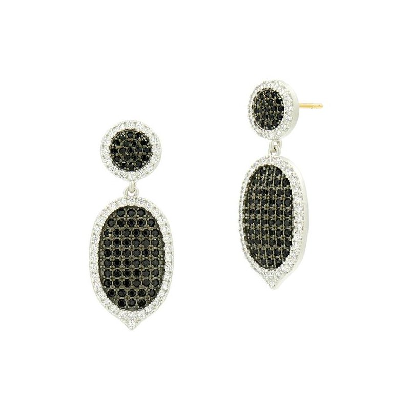 Freida Rothman IF SS/ CZ/ SHORT PAVE DROP EARR (14K POSTS)