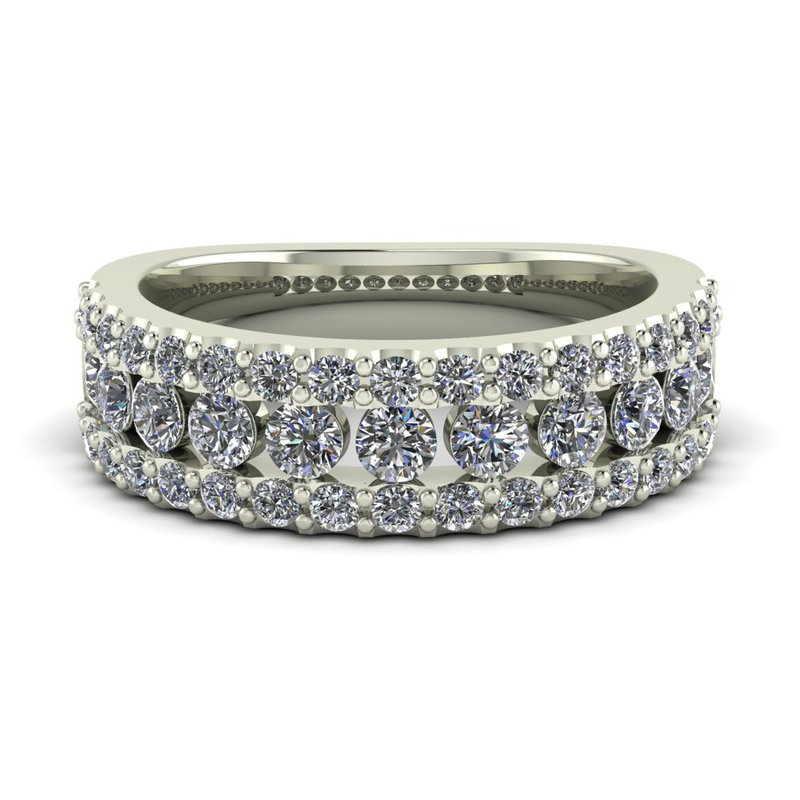 Ladies Three Row Diamond Band