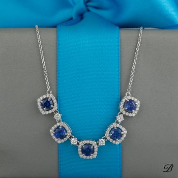 Sapphire and Diamond Halos Necklace