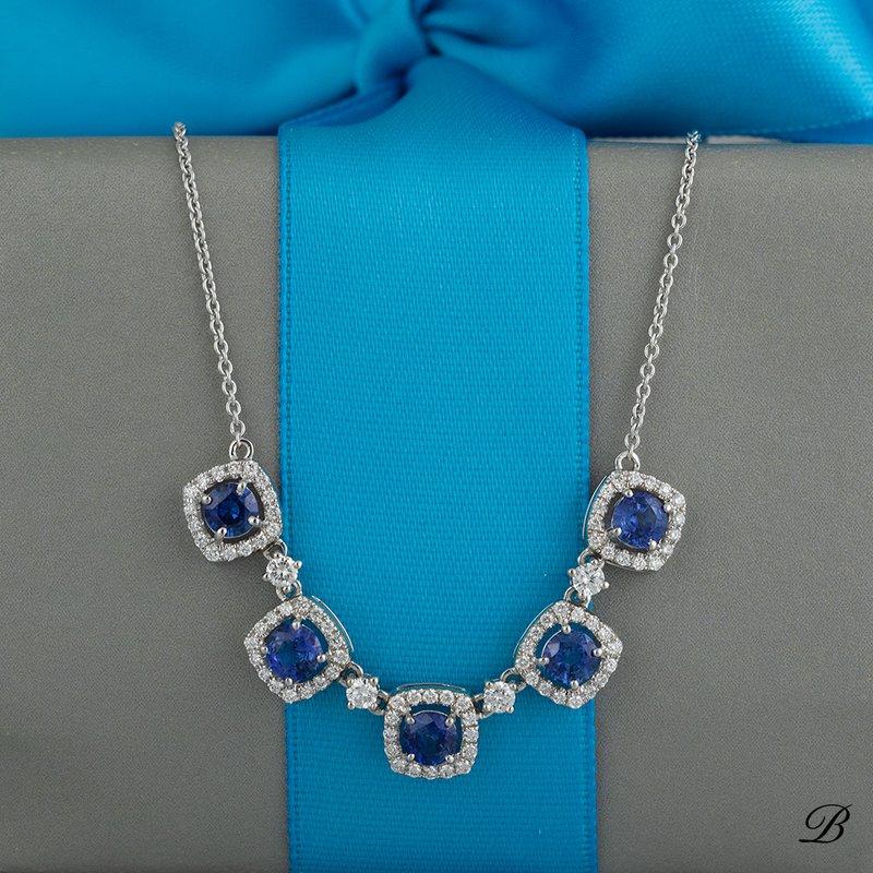 Sapphire and Diamond Halos Necklace