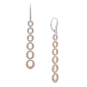 Diamond Link Dangle Earrings
