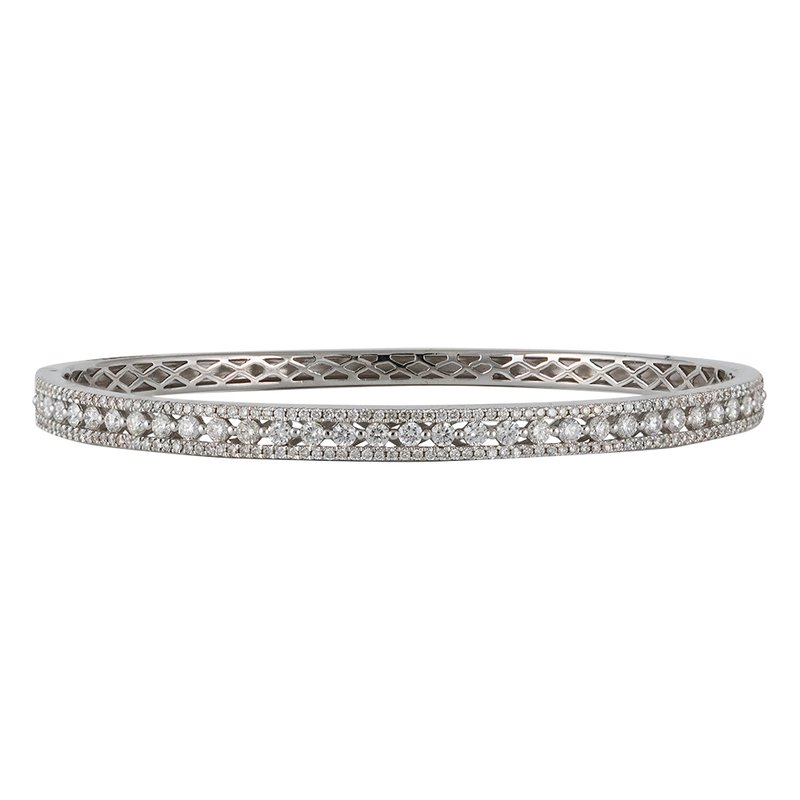 3-Row Diamond Bangle