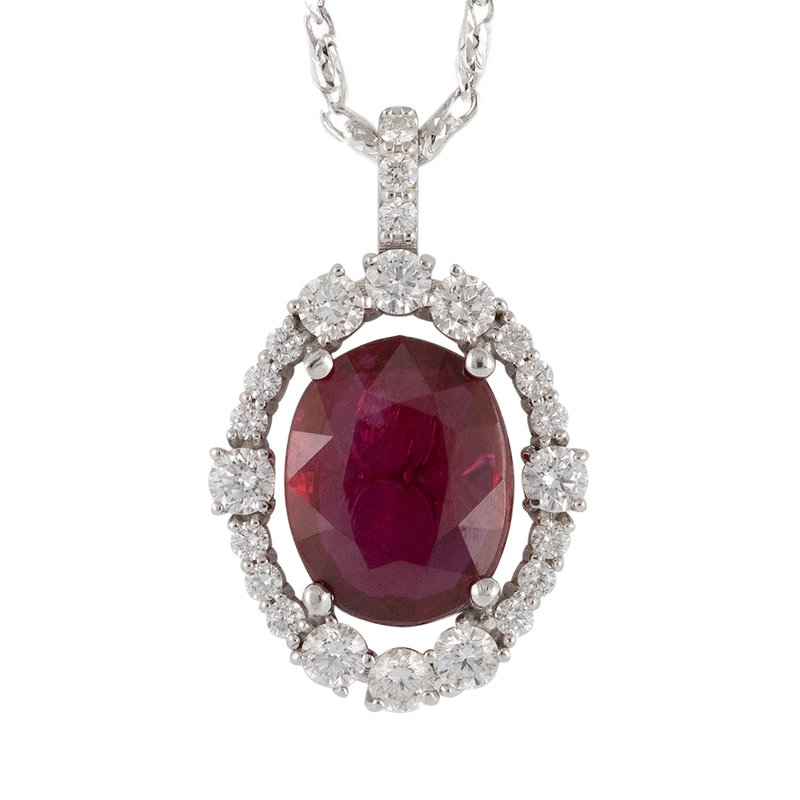 Ruby Pendant with Diamond Frame