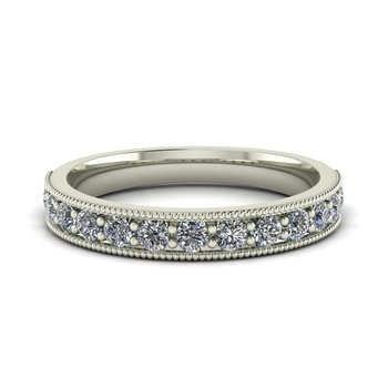 Ladies Milgrain Diamond Band
