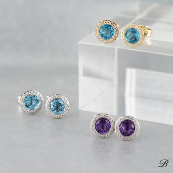 Gemstone Halo Earrings