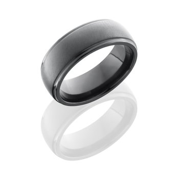 Men's Satin Polsihed Black Zirconium Wedding Band