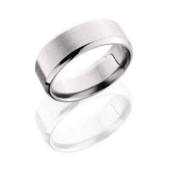 Men's Beveled Edge Satin Finish Cobalt Chrome Wedding Band