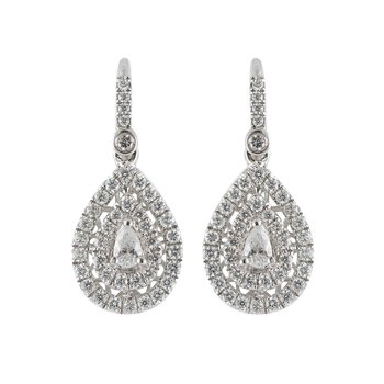 Pear Double Halo Earrings