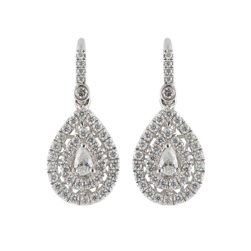 Pear Double Halo Earrings