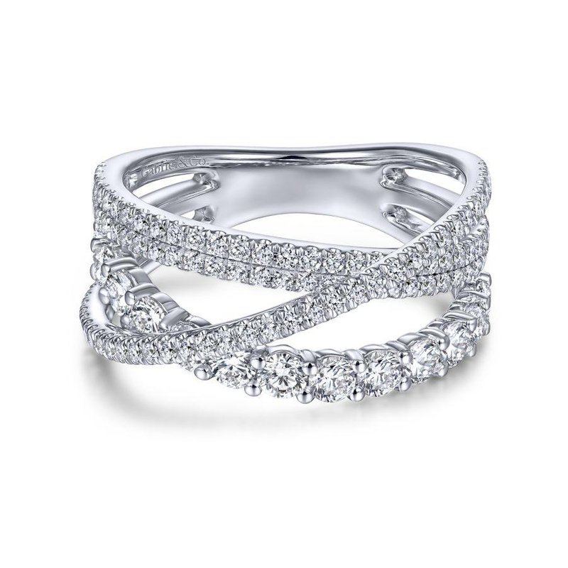 Gabriel Fashion 14K White Gold Criss Crossing Layered Diamond Ring