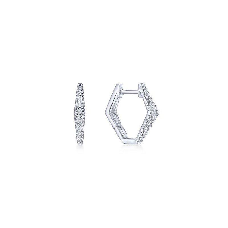 Gabriel Fashion 14K White Gold 15mm Diamond Huggie Earrings