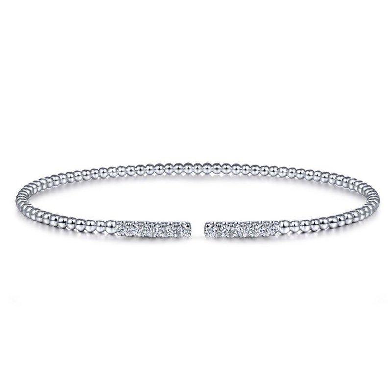 Gabriel Fashion 14K White Gold Bujukan Bead Cuff Bracelet with Diamond Pavé Bars