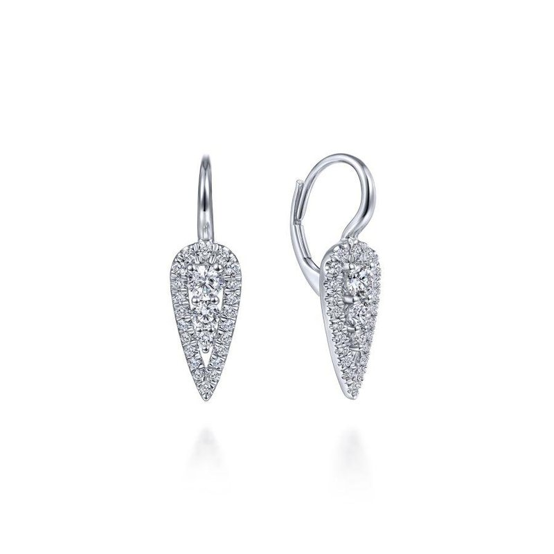 Gabriel Fashion 14K White Gold Long Cluster Teardrop Leverback Diamond Earrings