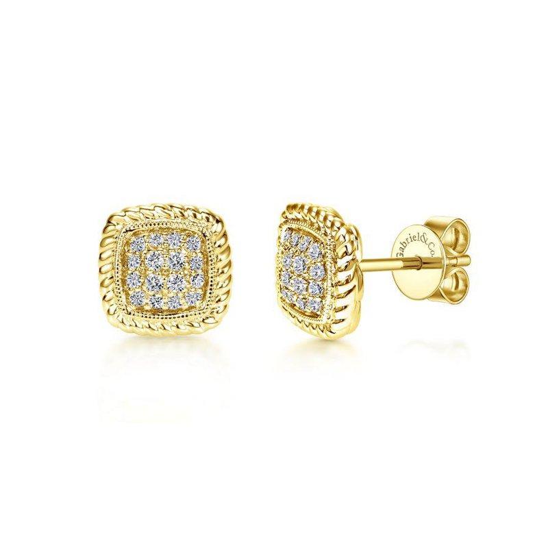 Gabriel Fashion 14K Yellow Gold Twisted Cluster Diamond Stud Earrings