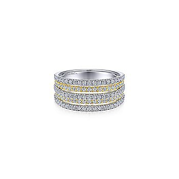 14K Yellow-White Gold Layered Wide Band Diamond Ring