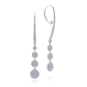 14K White Gold Long Graduating Circle Diamond Drop Earrings