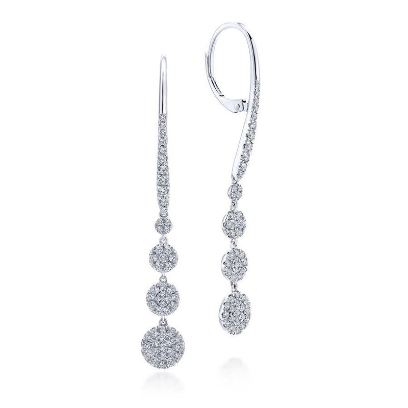 Gabriel Fashion 14K White Gold Long Graduating Circle Diamond Drop Earrings