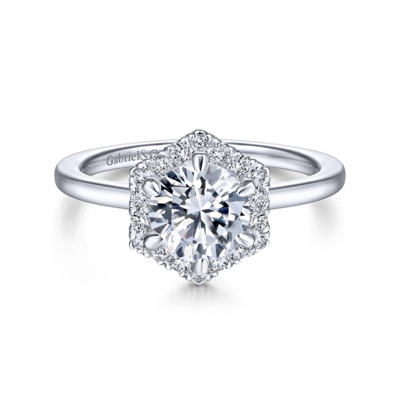 Gabriel Bridal 14K White Gold Hexagonal Halo Round Diamond Engagement Ring