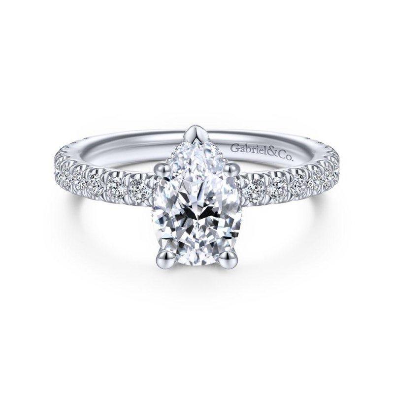 Gabriel Bridal 14K White Gold Hidden Halo Pear Shape Diamond Engagement Ring