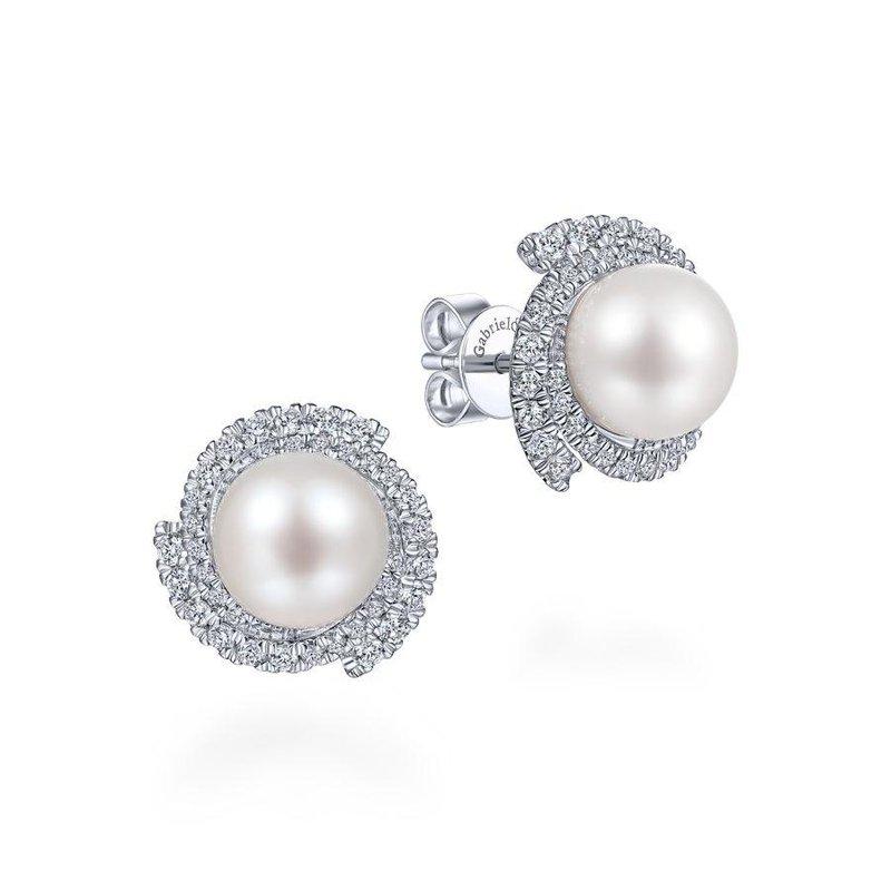 Gabriel Fashion 14K White Gold Round Cultured Pearl Swirling Diamond Halo Stud Earrings