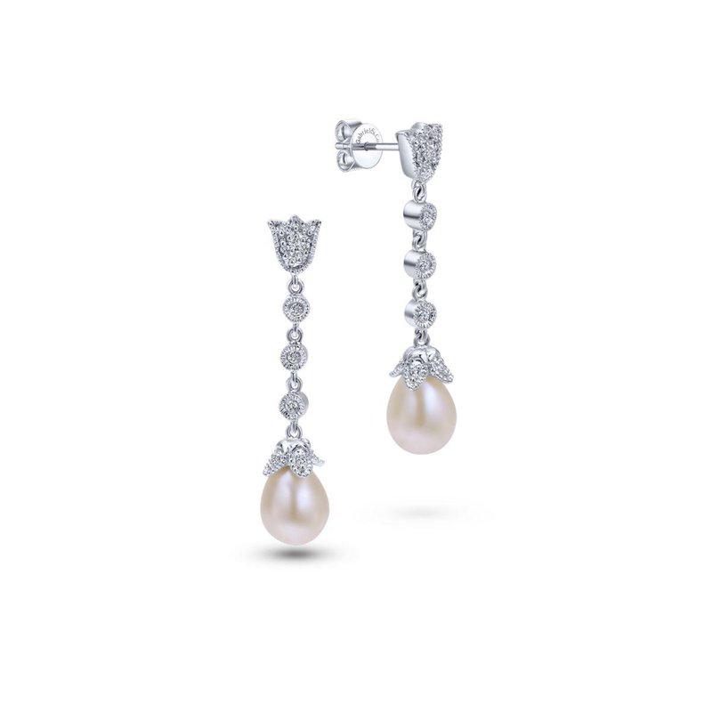Gabriel Fashion 14K White Gold Floral Pearl Diamond Drop Earrings