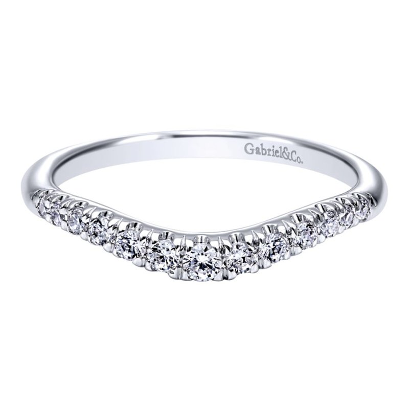 Gabriel Bridal Curved 14K White Gold French Pavé Diamond Wedding Band