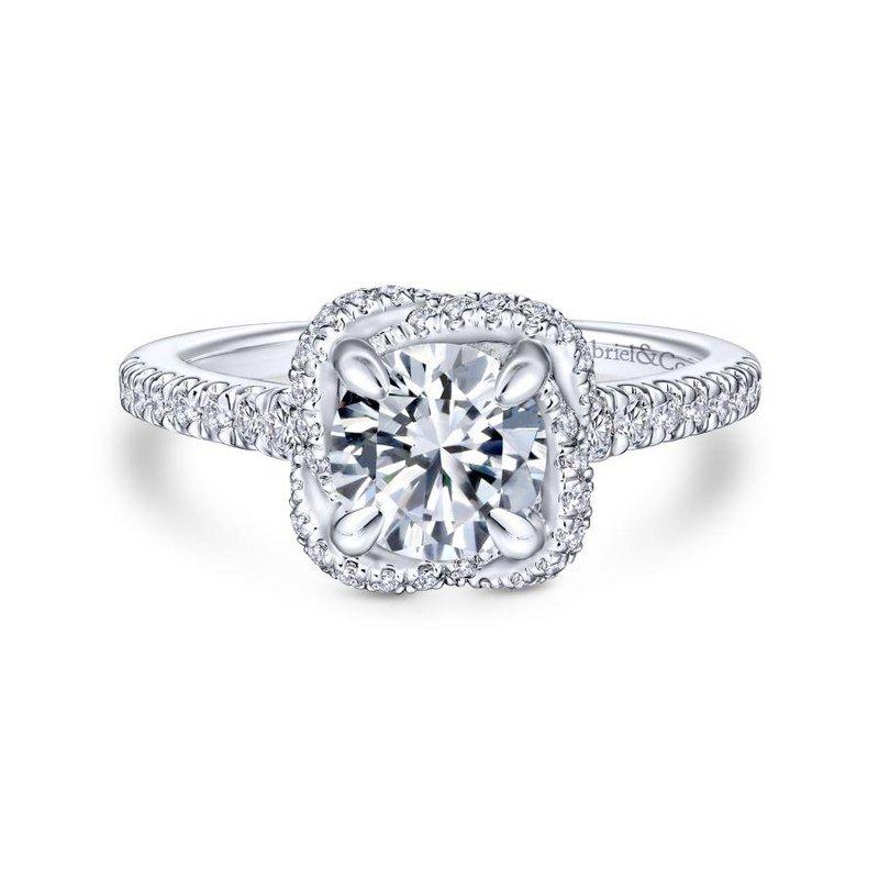 Gabriel Bridal 14K White Gold Cushion Halo Round Diamond Engagement Ring