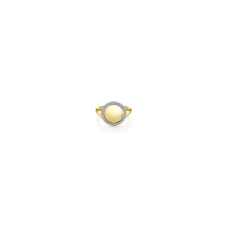 Gabriel Fashion 14K Yellow Gold Pinky Signet Ring with Diamond Halo
