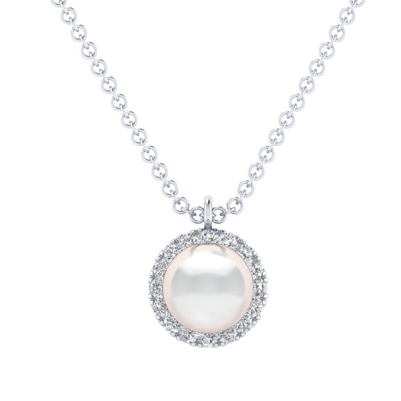 Gabriel Fashion 14K White Gold Cultured Pearl and Diamond Halo Pendant Necklace