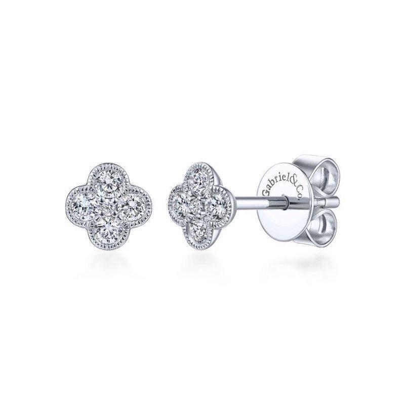 Gabriel Fashion 14K White Gold Diamond Flower Stud Earrings