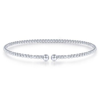 Split 14K White Gold Beaded Bujukan Bangle
