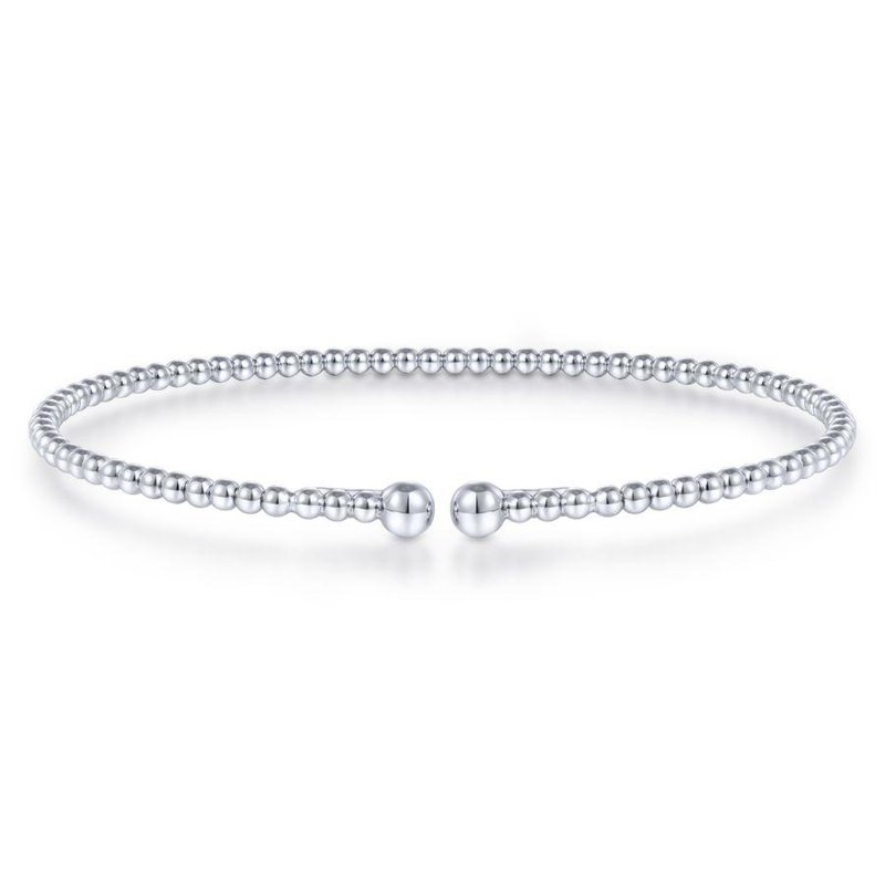 Gabriel Fashion Split 14K White Gold Beaded Bujukan Bangle
