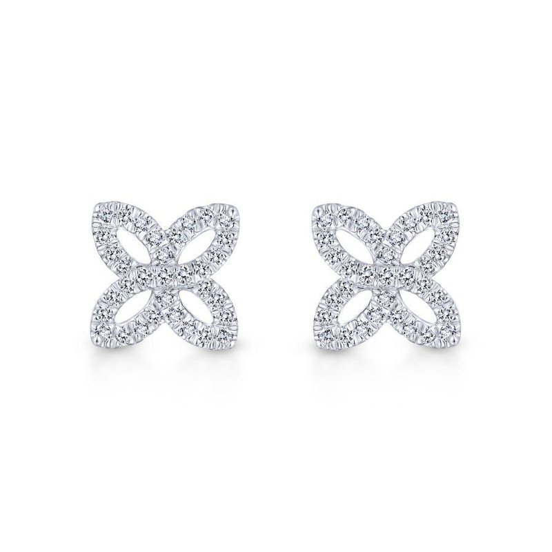 Gabriel Fashion 14K White Gold Open Floral Pavé Diamond Stud Earrings